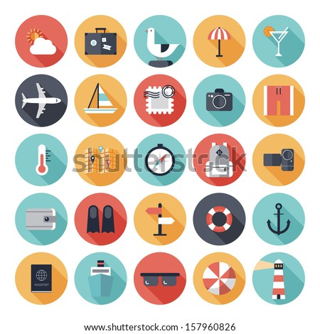 Modern flat icons vector collection with long shadow effect in stylish colors of traveling, tourism and vacation theme. Isolated on white background.