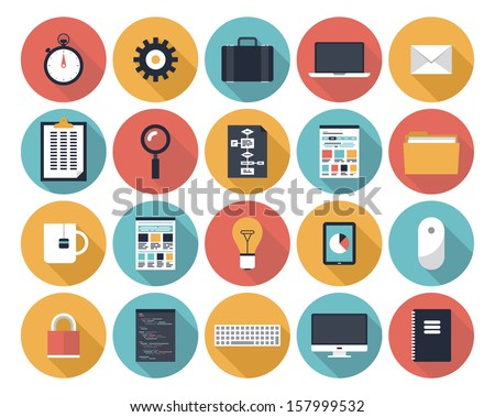 Modern flat icons vector collection with long shadow effect in stylish colors of web design objects, interface elements, business and office items.  Isolated on white background.