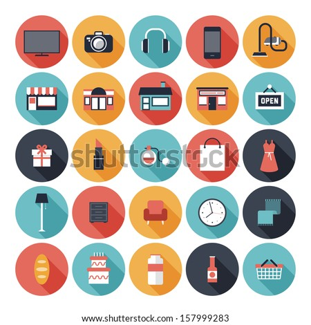 Modern flat icons vector set with long shadow effect in stylish colors of shopping objects and items.  Isolated on white background.