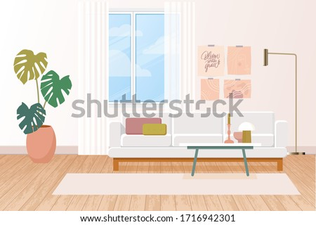 Modern flat illustration with livingroom interior in pastel pink colors, light background for concept design. Living room interior. Modern home decor. Home decoration. Background interior.