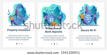 Modern flat illustrations in the form of a slider for web design. A set of UI and UX interfaces for the user interface.Bank data protection,secure WI-FI, and property insurance.