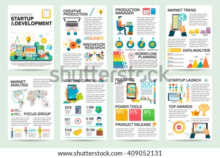 Modern flat Infographics of startup business and launch new product on market. Use in website, corporate report, presentation, advertising, marketing, background, banner, diagram, brochure template.