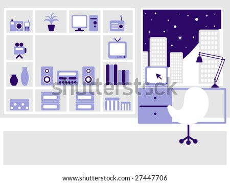 Modern flat interior on the night city. Vector illustration. All objects organized in layers for usability.