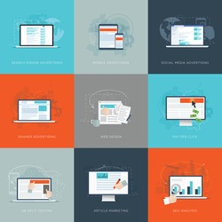Modern flat internet marketing business vector illustrations set. Usable for websites, web design, infographics, flyers, advertisements, corporate brochures, marketing campaings and email marketing.