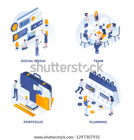 Modern Flat Isometric designed concept icons for Social Media, Team, Portfolio and Planning. Can be used for Web Project and Applications. Vector Illustration