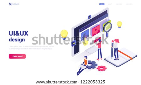 Modern flat isometric UI&UX design concept. Vector illustration with characters, text and button. User experience and user interface design. Illustration for web site header. Web application creation.