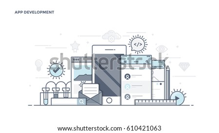 Modern Flat Line Color hero image of Apps Development for website and mobile website, easy to use and highly customizable. Modern vector illustration concept, isolated on white background.