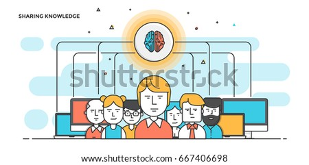Modern Flat Line Color hero image of Sharing Knowledge for website and mobile website, easy to use and highly customizable. Modern vector illustration concept, isolated on white background.