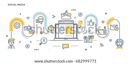 Modern Flat Line Color illustration Concept for Social Media. Concepts web banner and printed materials. Vector Illustration