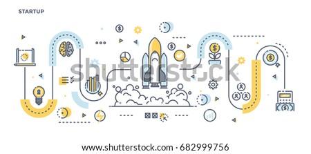 Modern Flat Line Color illustration Concept for Startup. Concepts web banner and printed materials. Vector Illustration