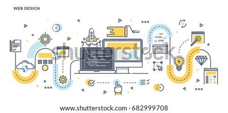 Modern Flat Line Color illustration Concept for Web Design. Concepts web banner and printed materials. Vector Illustration
