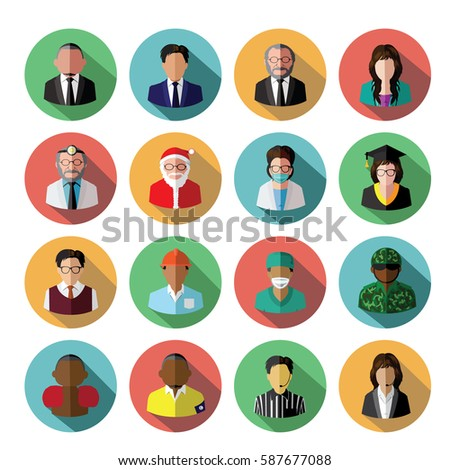 modern flat people icons set