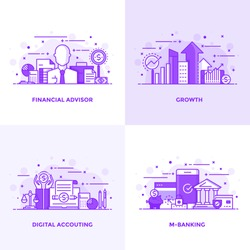 Modern Flat Purple color line designed concepts icons for Financial Advisor, Growth, Digital Accouting and M Banking. Can be used for Web Project and Applications. Vector Illustration