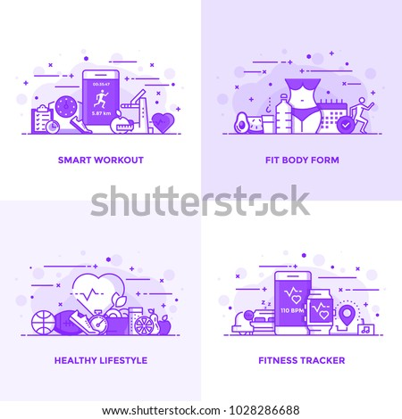 Modern Flat Purple color line designed concepts icons for Smart Workout, Fit Body Form, Healthy Lifestyle and Fitness Tracker. Can be used for Web Project and Applications. Vector Illustration