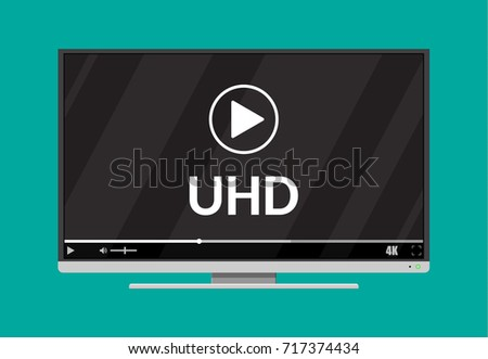 Modern flat screen tv with ultra high definition, 4k screen format. Tv with onine player. Led television display. Vector illustration in flat style