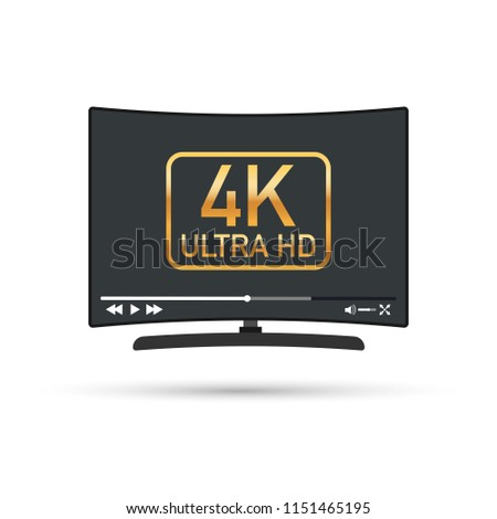Modern flat screen tv with ultra high definition, 4k ultra hd screen format. Tv with online player. Vector stock illustration.
