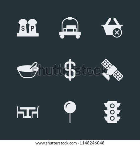 Modern Flat Simple Vector icon set. Contains Icons  food,  stop,  ingredient, breakfast,  pin,  interior,  kitchen,  porridge,  baggage,  exit, location,  space, close,  seasoning, currency,  earth