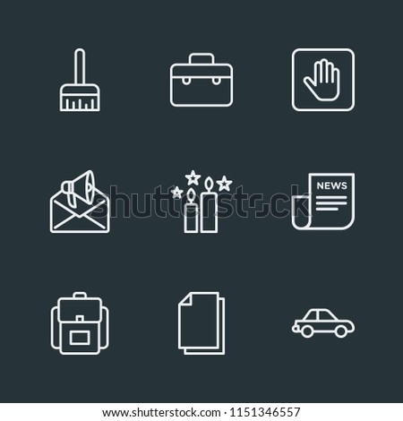 Modern Flat Simple Vector icon set. Contains Icons  office,  white, baggage, portfolio,  file,  sign, stop,  transport,  document,  road,  brush,  luggage,  art,  ink,  paper,  work,  bag, car,  web