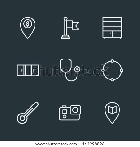 Modern Flat Simple Vector icon set. Contains Icons  white,  medical,  room,  celsius, window,  national,  banking, location,  location,  cameraman,  interior,  student,  healthcare,  clothes, school