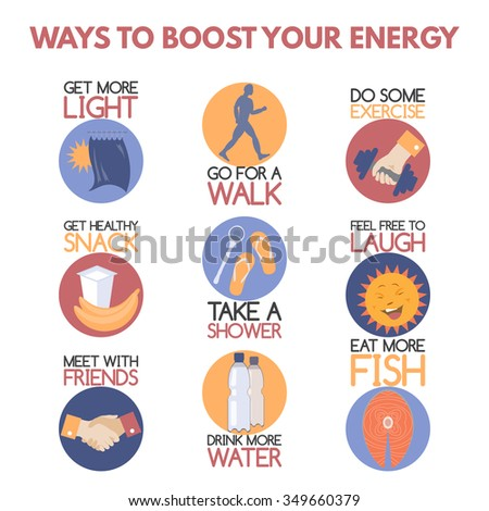 Modern flat style infographic on boosting your energy. Features healthy food and drink, better lighting, sports, taking shower, social activity. Great for popular psychology publications.