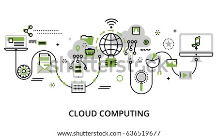 Modern flat thin line design vector illustration, concept of cloud computing technologies, protect computer networks and remote data storage, in greenery color, for graphic and web design