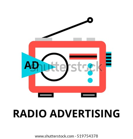 Modern flat thin line design vector illustration, concept of radio advertistement, for graphic and web design