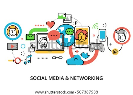 Modern flat thin line design vector illustration, concept of social media, online news and blogging, for graphic and web design