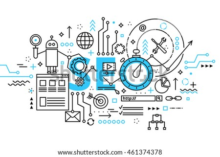 Modern flat thin line design vector illustration, concept seo optimization in search engine, for graphic and web design