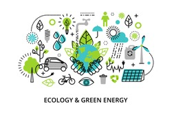 Modern flat thin line design vector illustration, infographic concept of ecology problem, generation and saving green energy  for graphic and web design