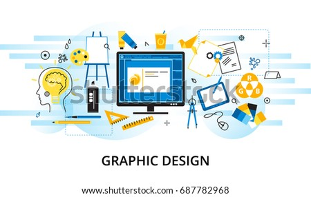 Modern flat thin line design vector illustration, infographic concept of graphic design, designer items and tools, and design development process, for graphic and web design
