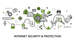 Modern flat thin line design vector illustration, infographic concept of internet security, network protection and secure online payments for graphic and web design