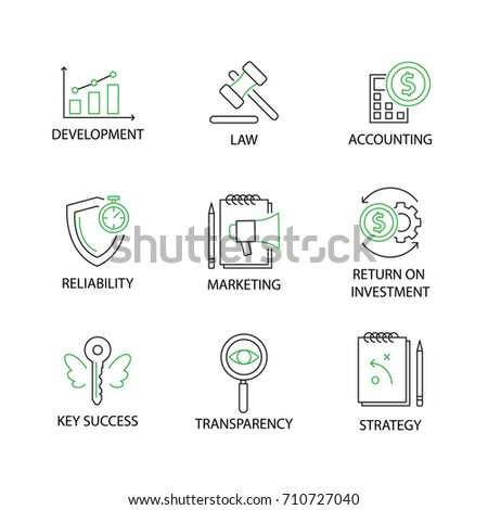 Modern Flat thin line Icon Set in Concept of Business and Management with word Development,Law,Accounting,Reliability,Marketing,Return on Investment,Key Success,Transparency,Strategy. Editable Stroke.