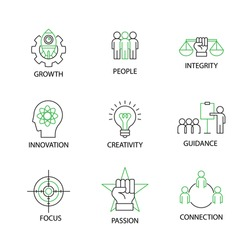 Modern Flat thin line Icon Set in Concept of Business Core Values with word Growth,People,Integrity,Innovation,Creativity,Guidance,Focus,Passion,Connection.Editable Stroke.