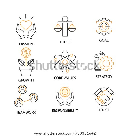 Modern Flat thin line Icon Set in Concept of Business Core Values with word Passion,Ethic,Goal,Growth,Core Value,Strategy,Teamwork,Responsibility,Trust.Editable Stroke.