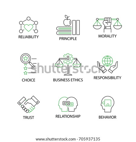 Modern Flat thin line Icon Set in Concept of Business Ethics with word Reliability,Principle,Morality,Choice,Responsibility,Trust,Relationship,Behavior.Editable Stroke.