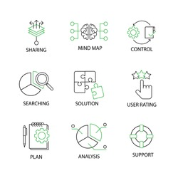 Modern Flat thin line Icon Set in Concept of Business Strategy with Sharing,Mind Map,Control,Searching,Analysis,Solution,User Rating,Plan,Support.Editable Stroke.