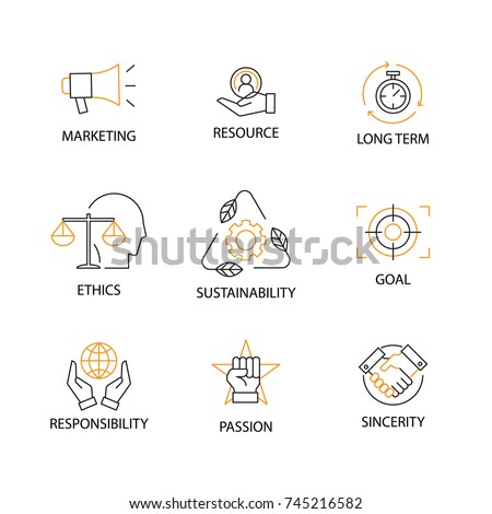 Modern Flat thin line Icon Set in Concept of Corporate Social Responsibility with word Marketing, Resource, Long Term, Ethics, Sustainability, Goal, Responsibility, Passion, Sincerity Editable Stroke.