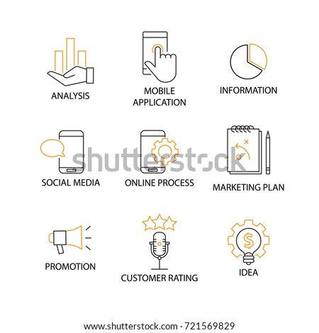 Modern Flat thin line Icon Set in Concept of Digital Marketing with word Analysis,Information,Mobile Application,Social Media,Online Process,Plan,Promotion,Customer Rating,Idea. Editable Stroke.