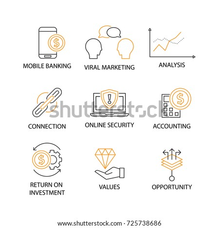 Modern Flat thin line Icon Set in Concept of Digital Marketing with word Mobile Banking,Viral Marketing,Analysis,Connection,Security,Accounting,Return on Investment,Values,Opportunity.Editable Stroke.