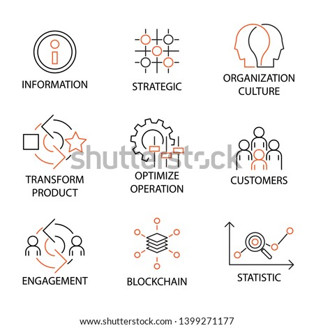Modern Flat thin line Icon Set in Concept of Digital Transformation with word Information,Strategic,Organization Culture,Product,Optimize Operation,Customers,Engagement,Blockchain,Statistic. Editable