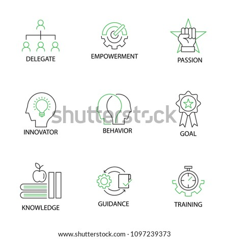 Modern Flat thin line Icon Set in Concept of Mentoring and Coaching with word Delegate,Empowerment,Passion,Innovator,Behavior,Goal,Knowledge,Guidance,Training. Editable Stroke.