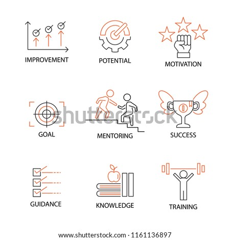 Modern Flat thin line Icon Set in Concept of Mentoring and Coaching with word Improvement,Potential,Motivation,Goal,Mentoring,Success,Guidance,Knowledge,Training. Editable Stroke. ストックフォト ©