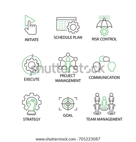 Modern Flat thin line Icon Set in Concept of Project Management with word Initiate,Schedule Plan,Risk Control,Execute,Communication,Strategy,Goal,Team Management. Editable Stroke.