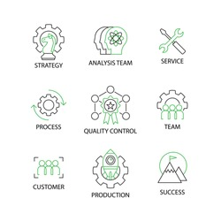 Modern Flat thin line Icon Set in Concept of Quality Control Process with word Strategy,Analysis Team,Service,Process,Quality Control,Team,Customer,Production,Success.Editable Stroke.