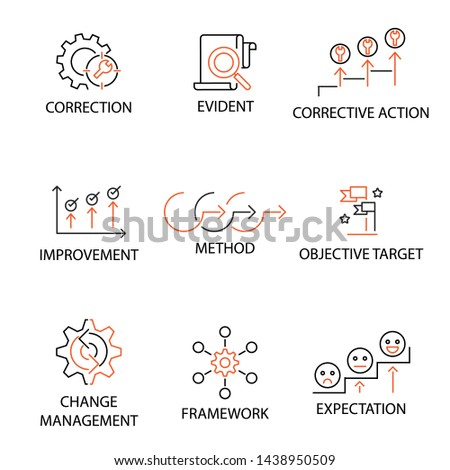 Modern Flat thin line Icon Set in Concept of Quality Management System with word Objective Target,Corrective Action,Method,Improvement,Evident,Framework,Expectation,Change Management. Editable Stroke