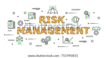Modern Flat thin line Icon Set in Concept of Risk Management with word Strategy,Risk Management,Assessment,Plan,Review,Evaluate,Analysis,Process. Editable Stroke.