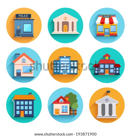 Modern flat vector buildings set. Colorful template for you design, web and mobile applications.
