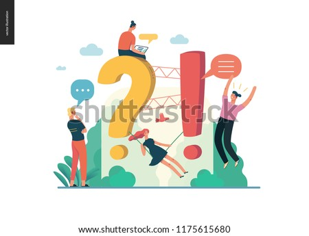 modern flat vector concept illustration of Frequently asked questions People around exclamation and question marks Question answer metaphor Creative web page design template