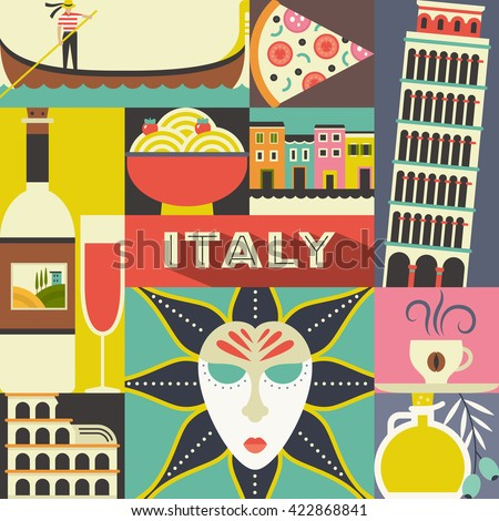 Modern flat vector concept with Italian symbols. Coliseum, masquerade masque, gondola and other Italy design elements. Unique design for travel to Italy poster.