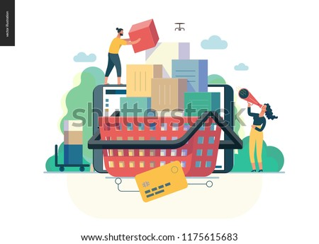 modern flat vector illustration concept of online shop - people placing boxes into the cart. Purchase cart and shopping process. Creative landing page design template